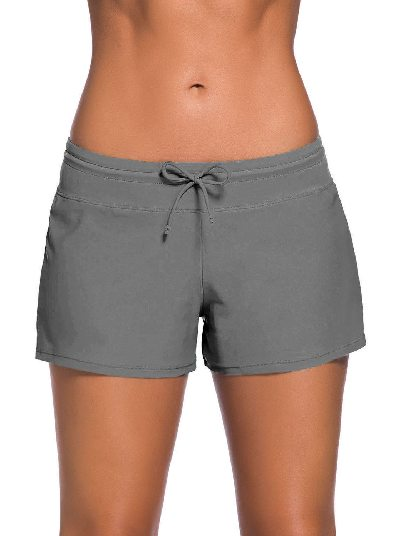Gray Women Summer Flat-angle Shorts Swim Boardshort