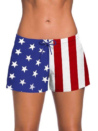 USA Flag Women Summer Flat-angle Shorts Swim Boardshort