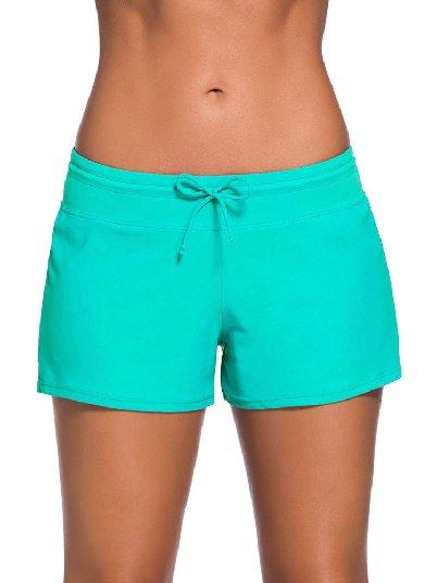 Green Women Summer Flat-angle Shorts Swim Boardshort