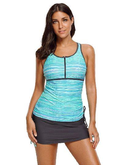 Green Plus Size Filtered Stripe Mesh Sleeveless Tankini Split Swimsuit