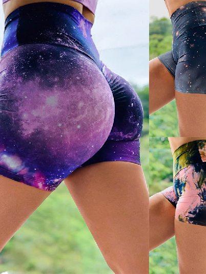 Multicolor Tie-dye Sports Shorts Print Booty Fitness Yoga Shorts