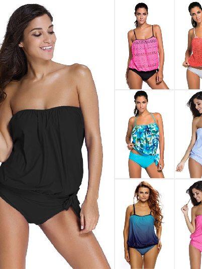 Women Print 2pcs Bandeau Split Tankini Swimsuit