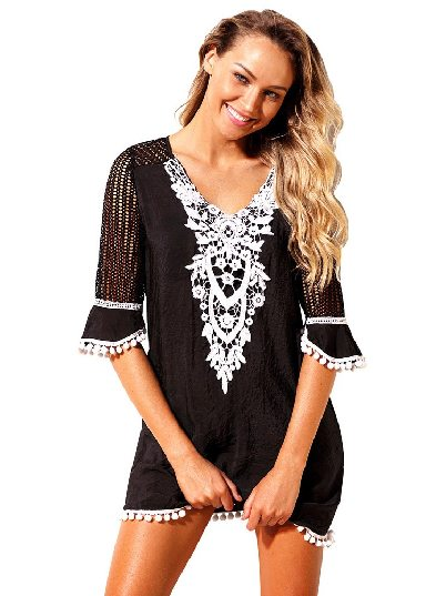 Mesh Lace Crochet Five-point Sleeve Pom Trim Beach DressTunic Cover up
