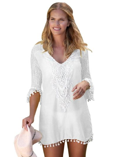 White Mesh Lace Crochet Five-point Sleeve Pom Trim Beach DressTunic Cover up