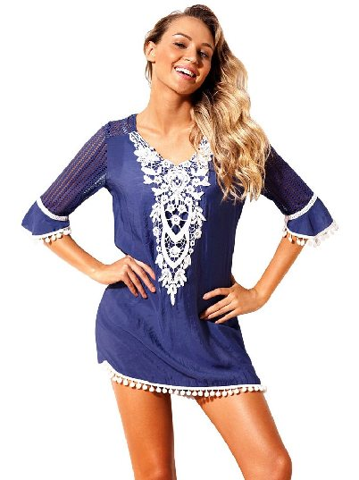 Blue Mesh Lace Crochet Five-point Sleeve Pom Trim Beach DressTunic Cover up