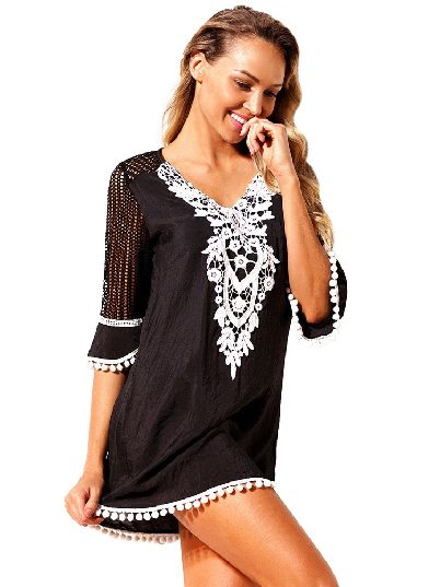 Black Mesh Lace Crochet Five-point Sleeve Pom Trim Beach DressTunic Cover up