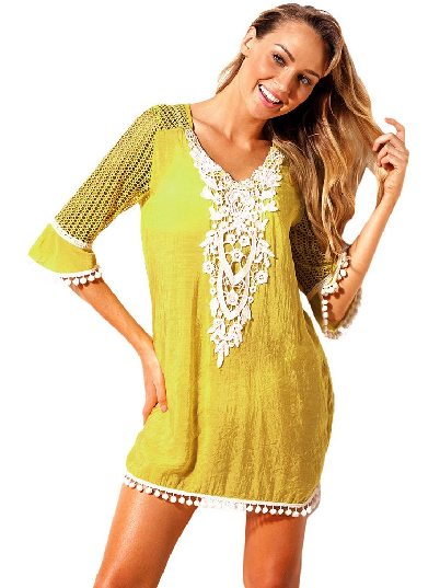 Yellow Mesh Lace Crochet Five-point Sleeve Pom Trim Beach DressTunic Cover up