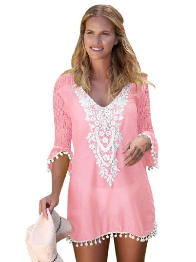 Pink Mesh Lace Crochet Five-point Sleeve Pom Trim Beach DressTunic Cover up