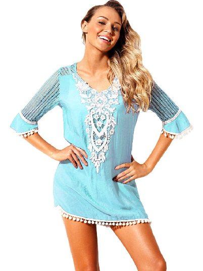 Green Mesh Lace Crochet Five-point Sleeve Pom Trim Beach DressTunic Cover up