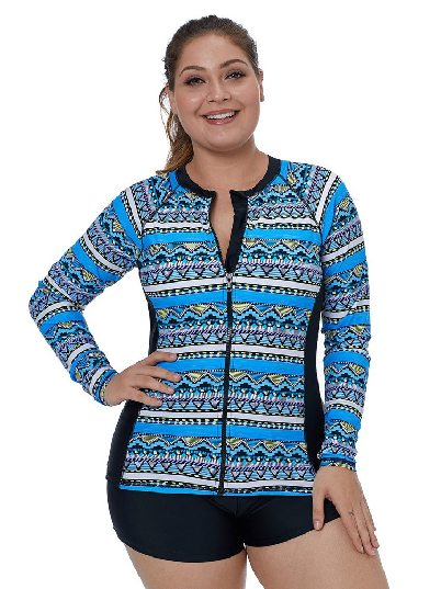 Plus Size Surfing Swimsuit Tribal Geometry Front Zip Rashguard Top