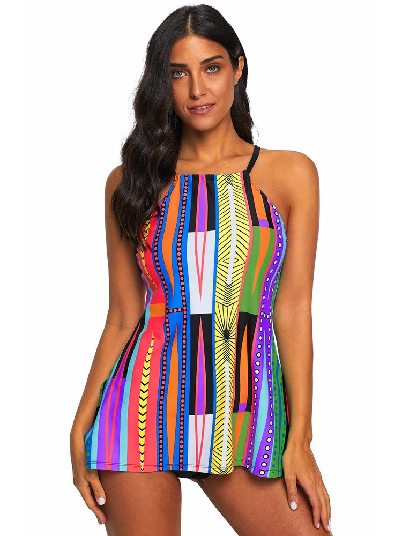 Multicolor Patterned Printed Sling Cami Tankini