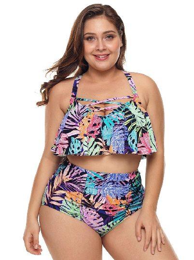 Plus Size Swimsuit Print Split Multicolored Strappy High Waist Two-piece Swimwear