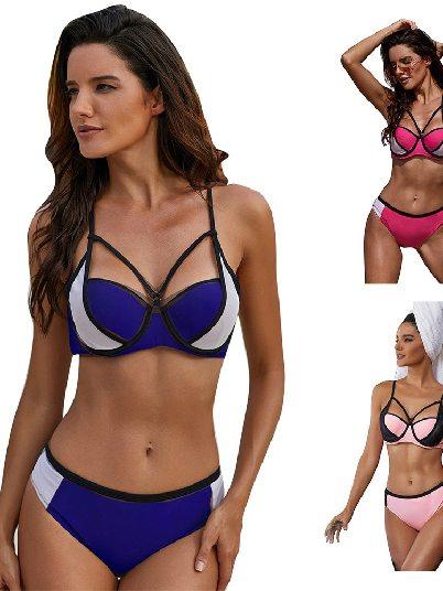 Suspender Half Cup Color Block Strappy Bikini Split Swimsuit
