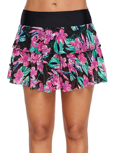 One-piece Floral Print Lacy Skirt Attached High-waist Swim Bottoms