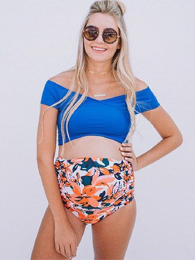 One-shoulder Printed High Waisted Maternity Swimsuit
