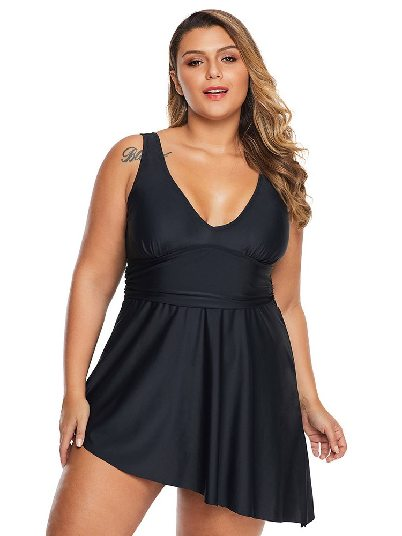 Tankini Bikini Black Belly Cover V Neck Skater Swimdress Plus Size Swimwear