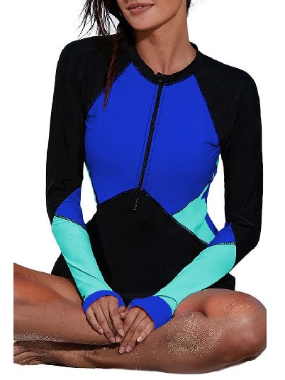 Dark blue One-piece Surfing Suit Zip Up Neckline Color Block Rashguard Top