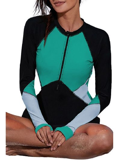 Green One-piece Surfing Suit Zip Up Neckline Color Block Rashguard Top