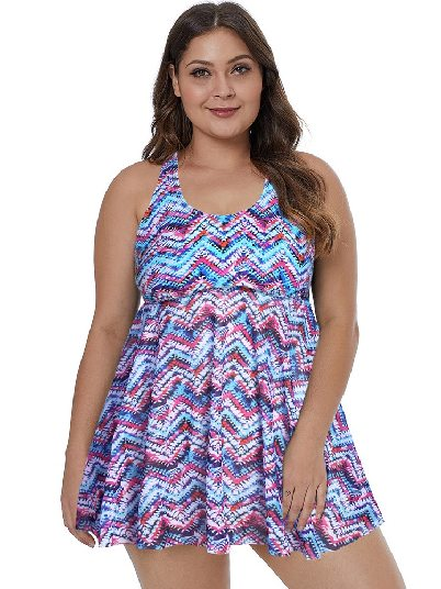 Purple Women One-piece Tops Plus Size Swimwear