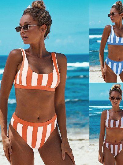 Sexy Low Round Neck Athletic Striped Tank Split Bikini