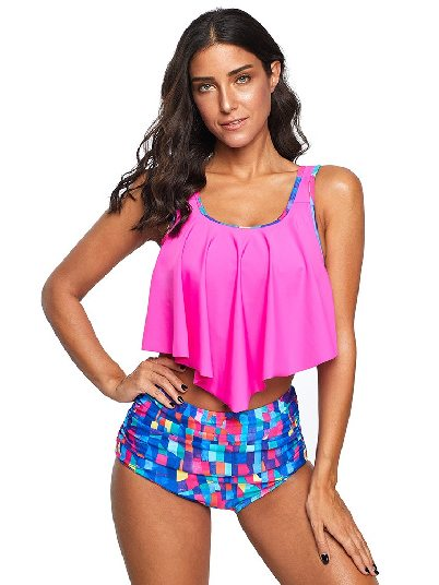 Rose red Beach Bikini Floral Print Crop Print Ruffled Overlay High Waist Split Tankini