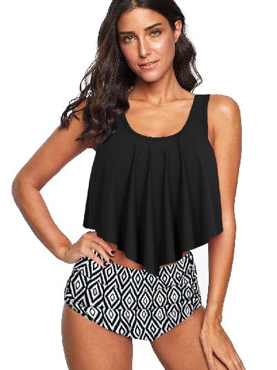 Black and white Beach Bikini Floral Print Crop Print Ruffled Overlay High Waist Split Tankini