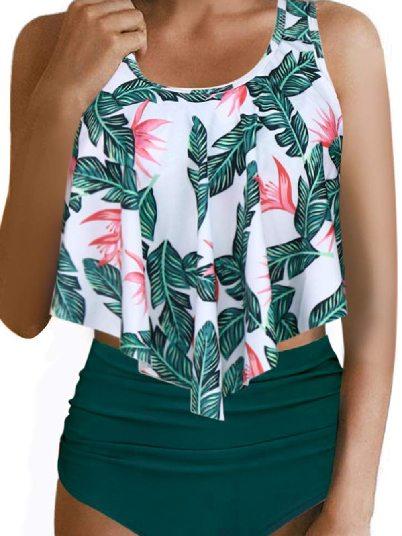 Green. Beach Bikini Floral Print Crop Print Ruffled Overlay High Waist Split Tankini