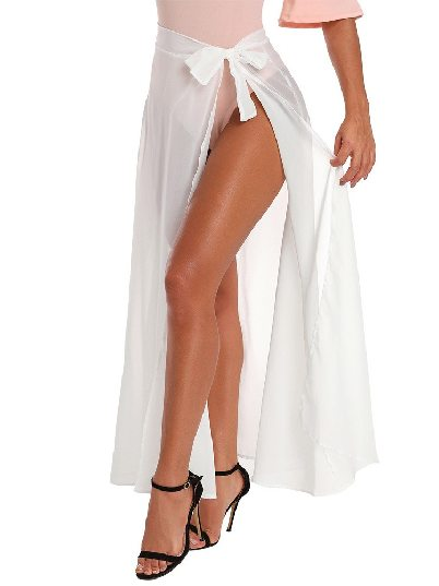 White Maxi Sheer Wrap Maxi Chic Lace Split Beach Skirt