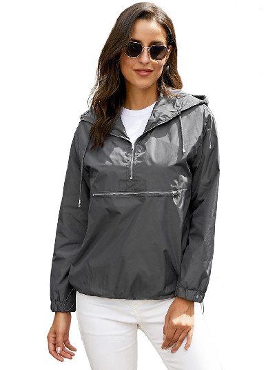 Gray Long-sleeved Casual Hooded Clothing Lapel Zipper Jacket