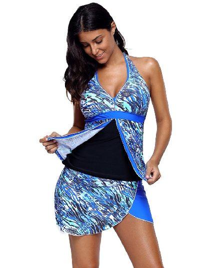 Abstract Sea Wave Print Hakama Split Swimsuit