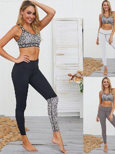 Yoga Wear Leopard Patchwork Two-piece Suit