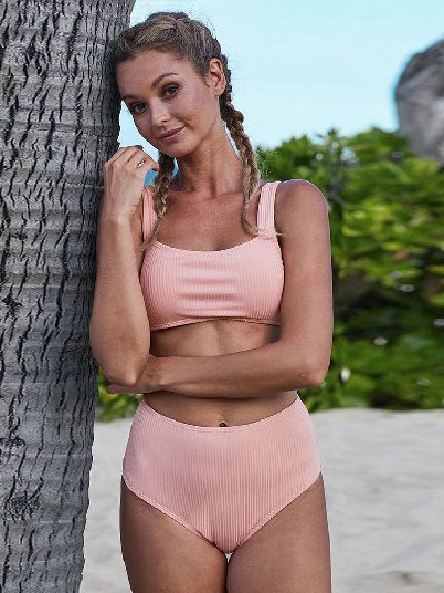 Sexy Split Ribbed Knit Sports Bra High-waisted Bikini Set