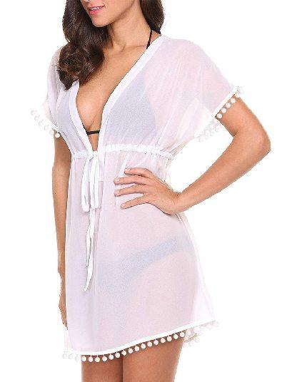 White 2020 Summer Deep V Neck Solid Color Pom Beach Skirt Tunic