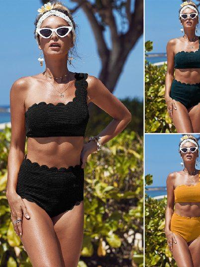 Split Swimsuit High Waist Trim One Shoulder Bikini