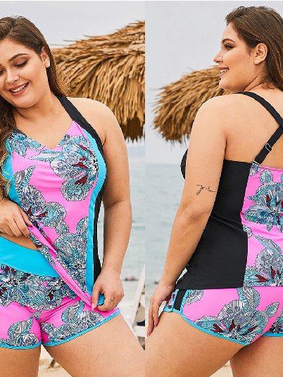 Printed Floral Block Flat-angle Cross Plus Size Swimwear