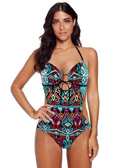 Color Sling Slim Printed Sweetheart Monokini Swimsuit