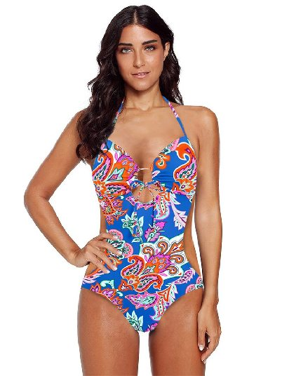 Light Blue Sling Slim Printed Sweetheart Monokini Swimsuit