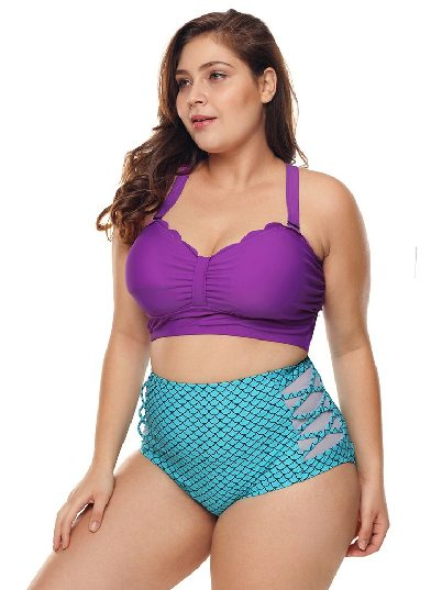 Fish Scale Print Scalloped Detail High Waist Swimsuit