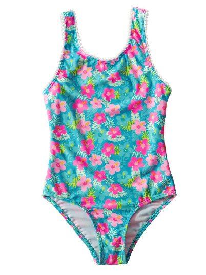 Flower Print Round Neck Sleeveless Triangle One Piece Little Girl Swimsuit