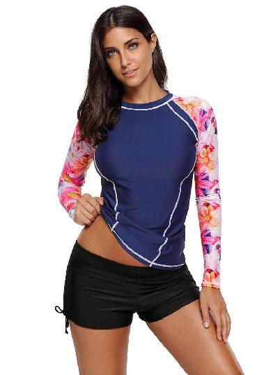 Dark blue Split Swimsuit Floral Printed Long Sleeve Rashguard Top