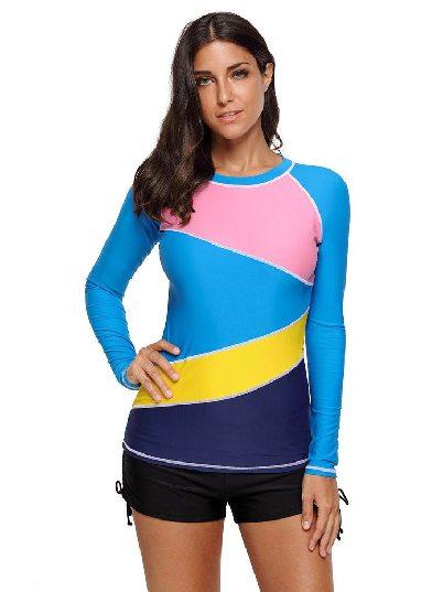 Blue Split Swimsuit Floral Printed Long Sleeve Rashguard Top