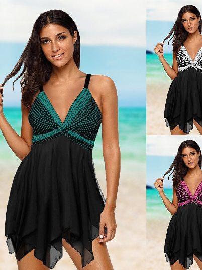 Mother Swimsuit Retro Polka Dot Print Hem Split Swimsuit Tankini Set