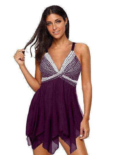 Purple Mother Swimsuit Retro Polka Dot Print Hem Split Swimsuit Tankini Set