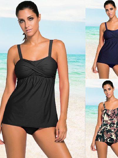 Mother Wear Sexy Bikini 2pcs Swing Tankini Swimsuit Without Steel Ring