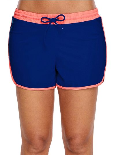 Coral Trim Cobalt Blue Anti-empty Flat-angle One-piece Swim Shorts