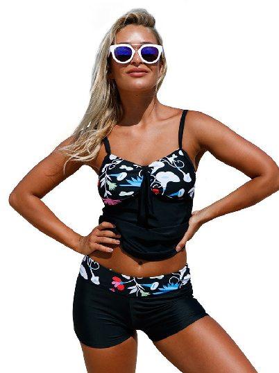 Floral Detailing Print Suspenders Low-neck Bandeau Tankini & Shorts Two-piece Swimsuit