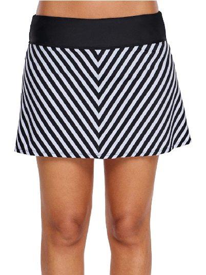 Black White Chevron Striped One-piece Swim Skirt