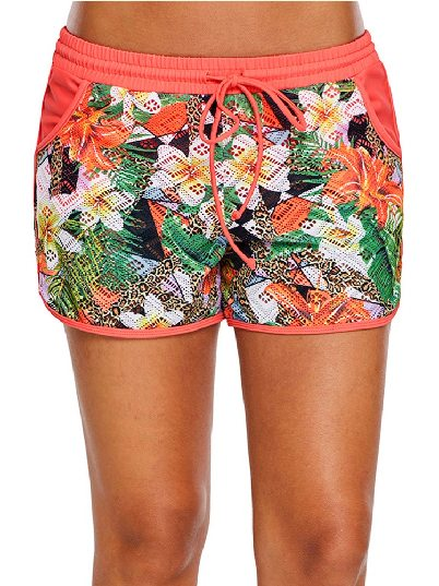 Floral Print Flat-angle Beach Shorts Attached Swim Bottom