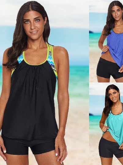 Swimsuit Print Split Round Neck Flat-angle Tankini Set