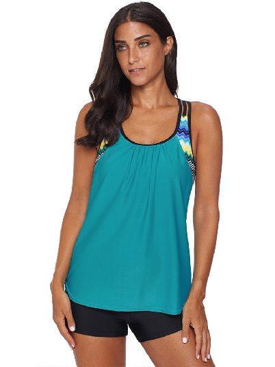 Green Swimsuit Print Split Round Neck Flat-angle Tankini Set